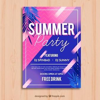 Sommer party flyer mit palmen