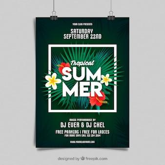 Sommer party flyer mit pflanzen