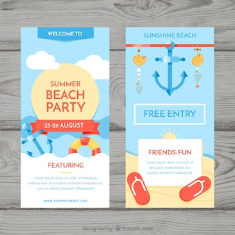 Sommer party flyer mit strandelementen
