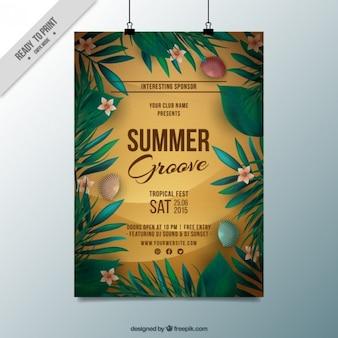 Sommer-party-plakat mit muscheln