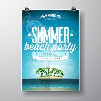 Sommer-party-plakatstrandentwurf