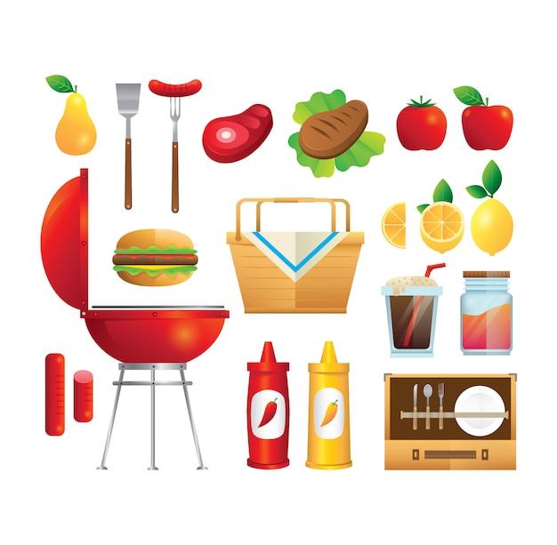 Sommer picnic vector set