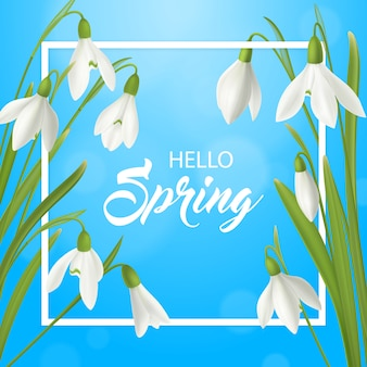 Sommer-plakathintergrund der realistischen schneeglöckchenblume hallo mit aufwändigem text des flachen rahmens und flowerage illustration des natürlichen frühlinges