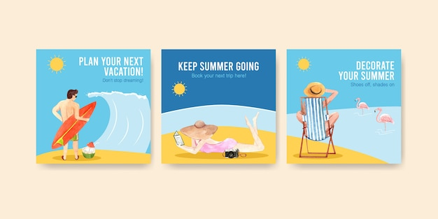 Sommer quadratische banner vorlagen