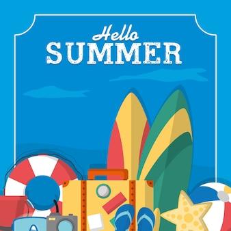 Sommer rahmen vorlage mit niedlichen cartoons