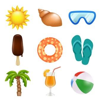 Sommer realistische symbole.