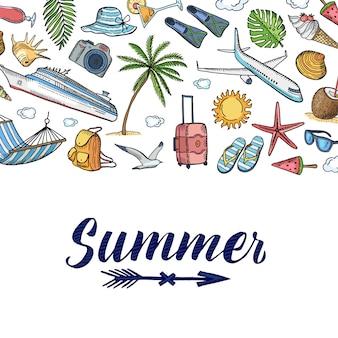 Sommer reisen elemente hintergrund