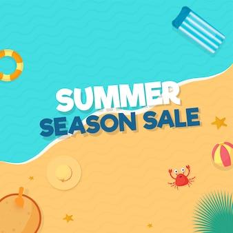 Sommer-saison-sale-poster-design mit blick auf den strand.