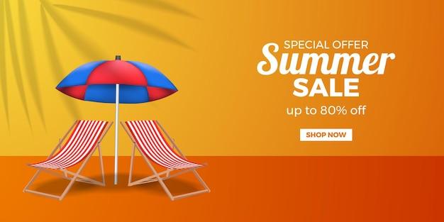 Sommer-sale-angebot-banner-werbung mit gefaltetem stuhl und regenschirm
