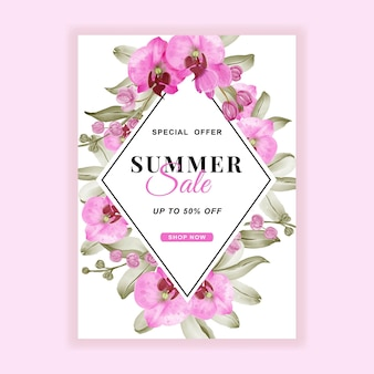 Sommer-sale-banner-flyer mit orchideenrosa-aquarell
