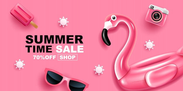 Sommer sale, banner layout design, illustration.