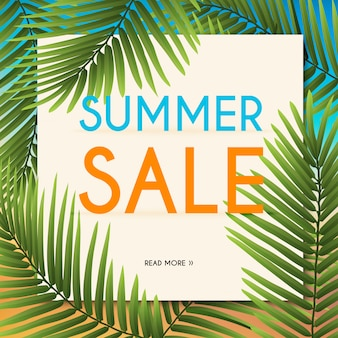 Sommer sale banner mit tropischen pflanzen. plakat, flyer. unscharfer hintergrund. illustration.