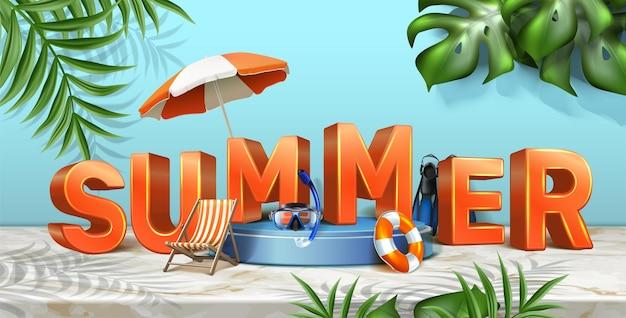 Sommer sale hintergrund horizontale ausrichtung mit 3d-buchstaben
