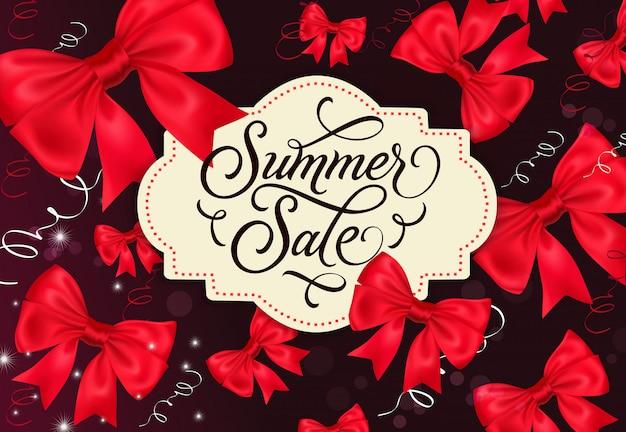 Sommer sale label mit bögen auf hintergrund