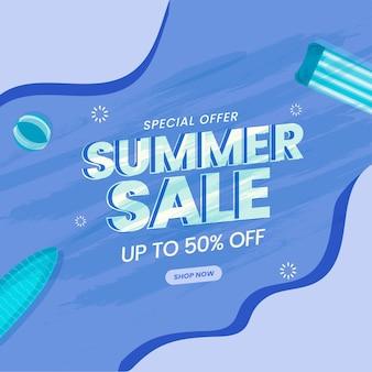 Sommer-sale-poster-design mit 50% rabatt und schwimmelement