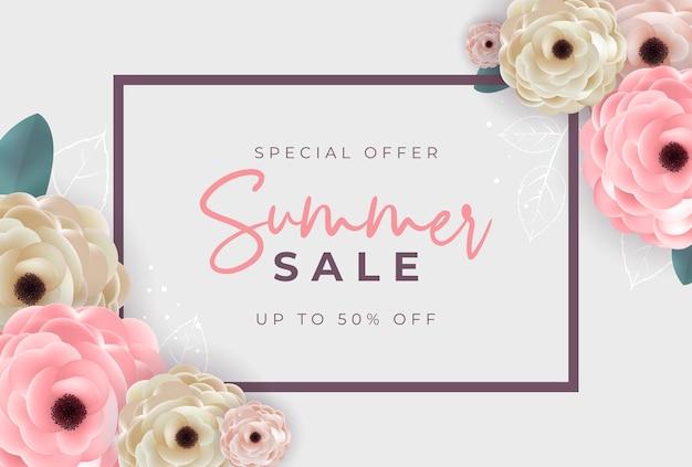 Sommer-sale-poster mit rahmen und blumen