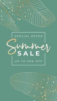 Sommer-sale-poster mit tropischen palmblättern