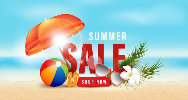 Sommer sale promotion shopping, sommer promo, feiertage am strand, web banner vorlage hintergrund 3d-stil