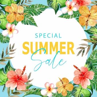 Sommer sale social media aquarell handgemaltes sommerbanner