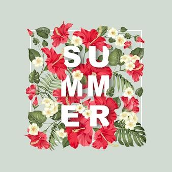 Sommer schriftzug auf rahmen, rote hibiskusblüte.
