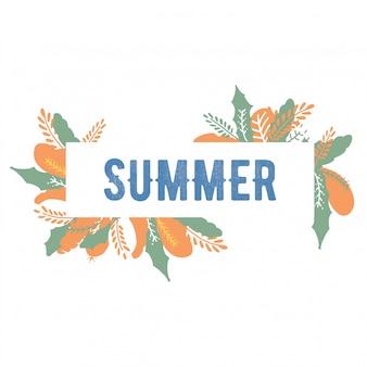 Sommer schriftzug flower summer. rosa farbhand gezeichnet, kalligraphie mit blumen beschriftend