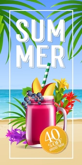 Sommer schriftzug im rahmen mit meeresstrand und cocktail. sommerangebot oder verkaufswerbung