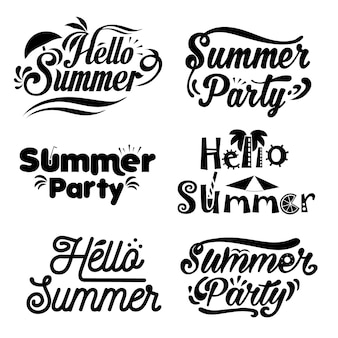 Sommer schriftzug logo typografie set