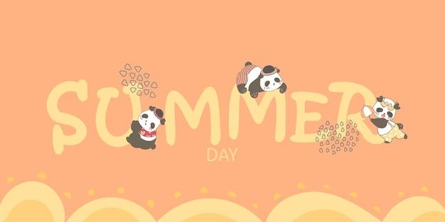 Sommer-schriftzug mit niedlichen baby-pandas, die davon hängen und illustration auf orangefarbenem hintergrund zeichnen