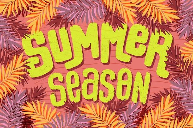 Sommer schriftzug saison und blätter