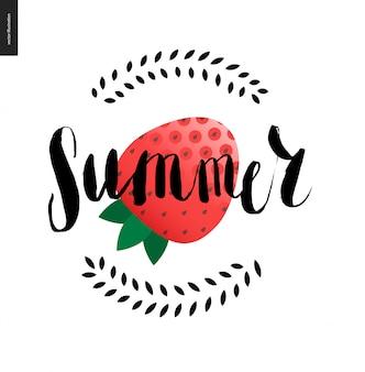 Sommer-schriftzug und erdbeere