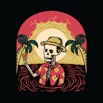Sommer-schwingungs-skeleton grausigkeit halloween entspannen sich sommer-grafik-illustration