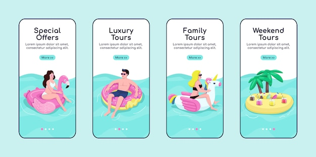 Sommer seetouren onboarding mobile app bildschirmvorlage. sonderangebote, premium-touren. walkthrough-website schritte mit zeichen. ux, ui, gui smartphone cartoon-oberfläche, falldrucke eingestellt