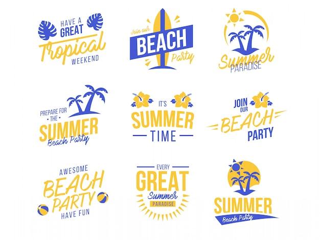 Sommer-set von logos und abzeichen