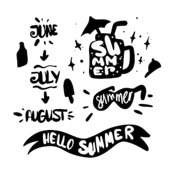 Sommer-silhouette-elemente mit schriftzug. sommermonate. juni, juli, august, sommerferien. doodle-set-elemente.
