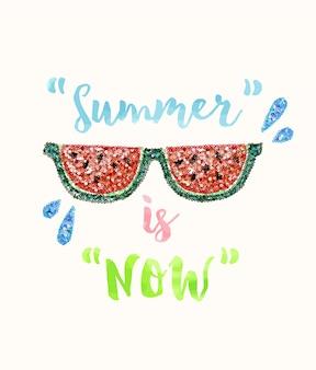 Sommer-slogan mit pailletten brille illustration