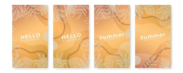 Sommer-social-media-banner mit blumen und tropischem sommerblatt.