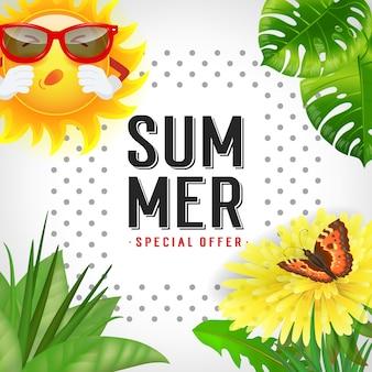 Sommer sonderangebot schriftzug. moderne inschrift mit tropischen blättern, niesende sonne