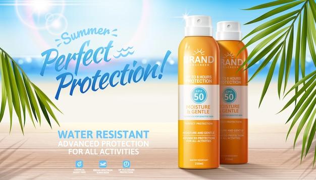 Sommer-sonnenschutzspray-anzeigen auf bokeh-strandhintergrund mit palmblättern in 3d-darstellung