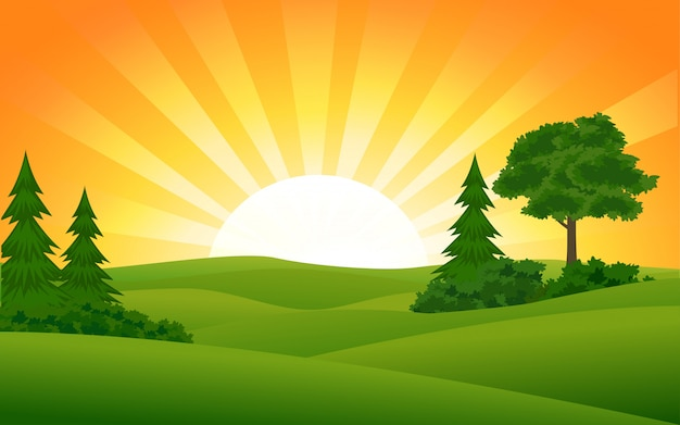 Sommer sonnenuntergang vektorbild mit sunburst