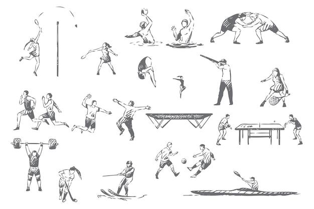 Sommer sportliche aktivitäten konzept skizze illustration
