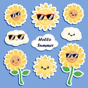 Sommer sticker sonne und sonnenblume flach
