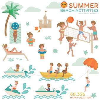 Sommer strand aktivitäten.