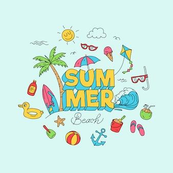 Sommer strand doodle illustration