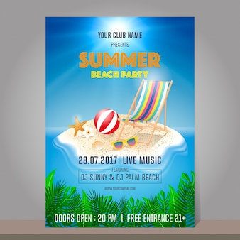 Sommer-strand-party-design-vorlage