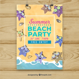 Sommer strand party poster mit seesterne