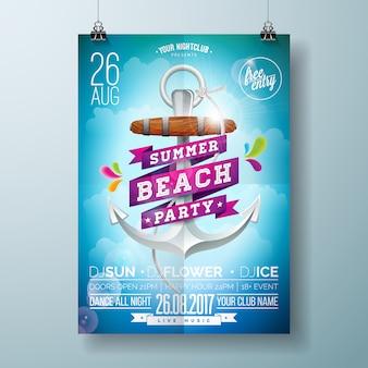 Sommer-strand-partyplakat mit ankerentwurf