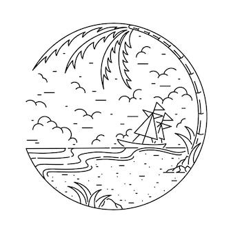 Sommer-strand-seesonnenuntergang-sonnenaufgang-feiertags-illustration