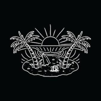 Sommer-strand-wellen-schädel-feiertags-illustration