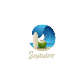 Sommer-strandbrandung und kokosnussgetränk-logoillustrationen