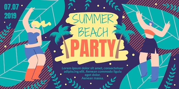Sommer-strandfest-flache karikatur
